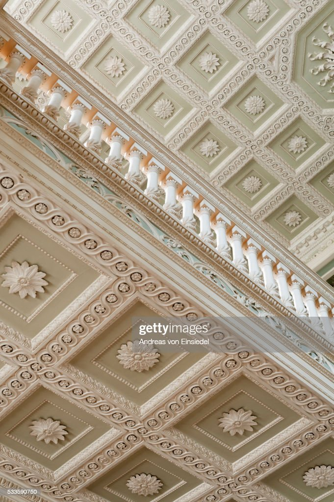 The ceiling mouldings of the Staircase Hall at The Vyne, Hampshire.