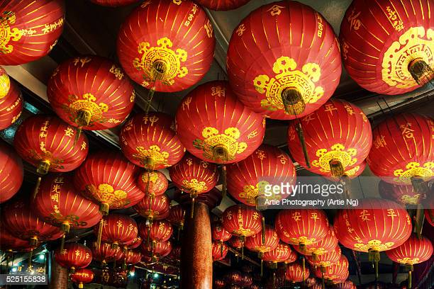 The Ceiling of Red Lanterns in Toa Pek Kong Temple, Batam, Indonesia