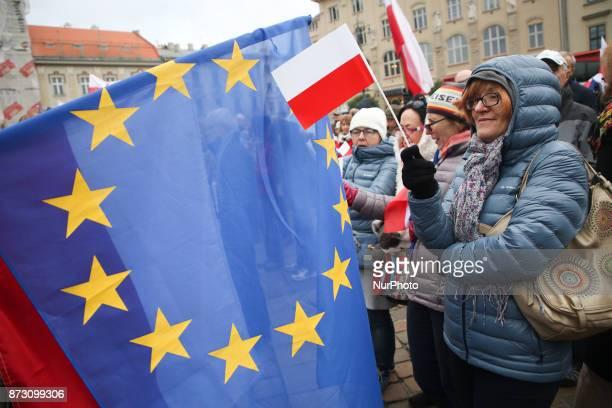 The celebration of the Polish Independence Day organised by KOD Krakow Poland on 11 November 2017