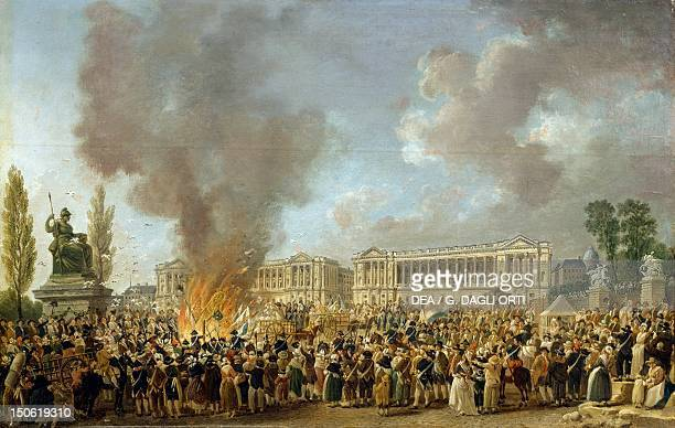 The Celebration of Unity destroying the emblems of Monarchy Place de la Concorde 10th August 1793 detail from a painting by Pierre Antoine Demachy...