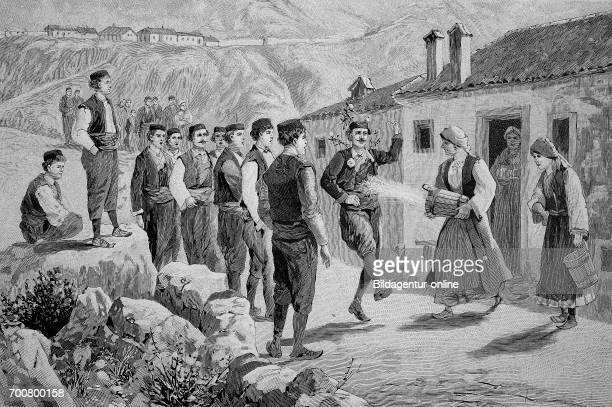 The celebration rain singing in Dalmatia Woodcut from 1892