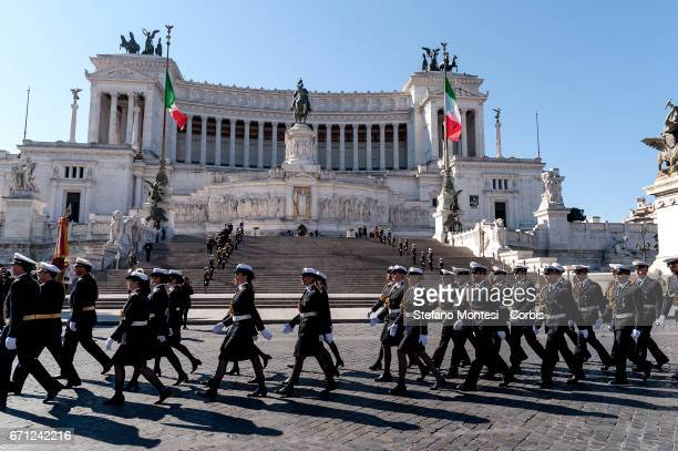 The celebrations for 2770th anniversary of the founding of Rome Altar of the Fatherland in Piazza Venezia on April 21 2017 in Rome Italy