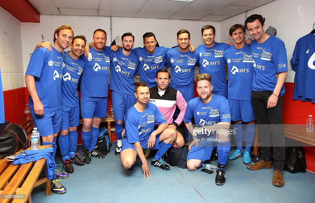 The celebrity team in the dressing room at a Charity football match in aid of St Joseph's Hospice and Haven House Children's Hospice at Leyton Orient Matchroom Stadium on May 17, 2015 in London, England.
