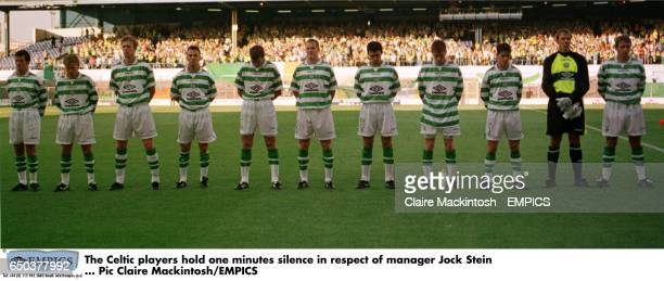 The Celtic players hold one minutes silence in respect of manager Jock Stein