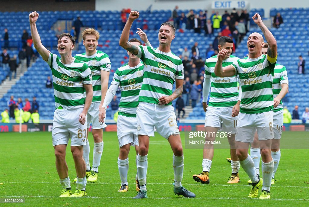 The Celtic team celebrate victory after the Ladbrokes Scottish Premiership match between Rangers and Celtic at Ibrox Stadium on September 23, 2017 in Glasgow, Scotland.