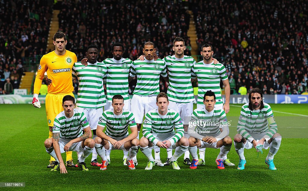 The Celtic team line up before the UEFA Champions League Group G match between Celtic and Barcelona at Celtic Park on November 7, 2012 in Glasgow, Scotland.