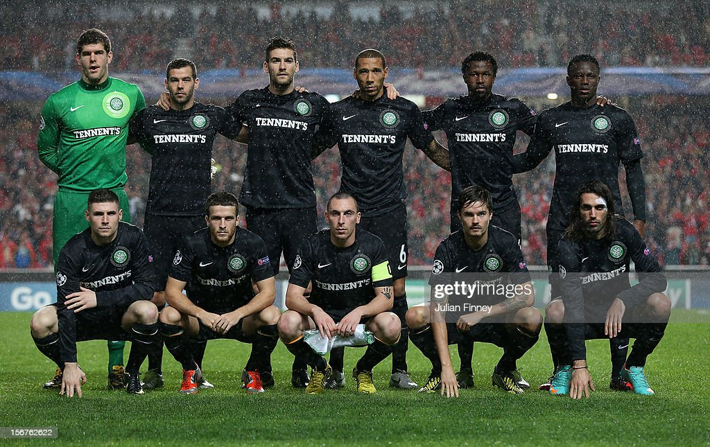 The Celtic team line up before the UEFA Champions League, Group G match between SL Benfica and Celtic FC at Estadio da Luz on November 20, 2012 in Lisbon, Portugal.