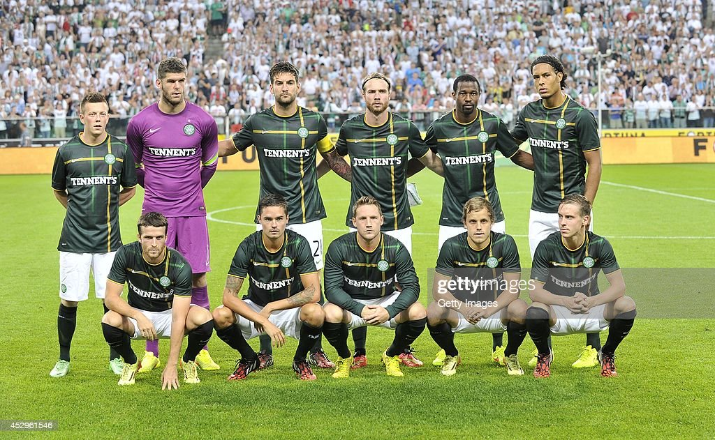 The Celtic team pose for the cameras prior to kickoff during the third qualifying round UEFA Champions League match between Legia and Celtic at Pepsi Arena on July 30, 2014 in Warsaw, Poland.