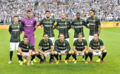 The Celtic team pose for the cameras prior to kickoff during the third qualifying round UEFA Champions League match between Legia and Celtic at Pepsi...