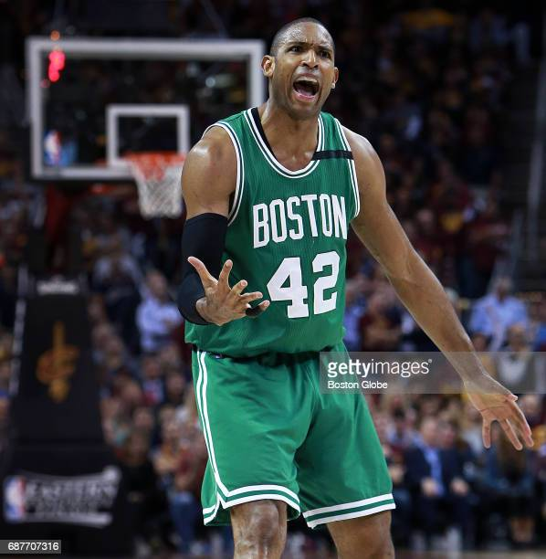 The Celtics' Al Horford howls at a referee claiming he had been fouled in the second half The Boston Celtics visit the Cleveland Cavaliers for Game...