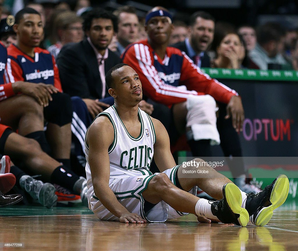 The Celtics' Avery Bradley sits on the floor after a fourth quarter pass intended for him sailed out of bounds for a Boston turnover. The Boston Celtics hosted the Washington Wizards in their final NBA game of the season at the TD Garden on Wednesday, April 16, 2014.