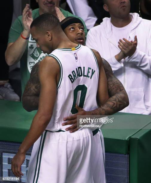 The Celtics' Isaiah Thomas embraces teammate Avery Bradley as the final seconds tick off the clock in Boston's victory The Boston Celtics host the...