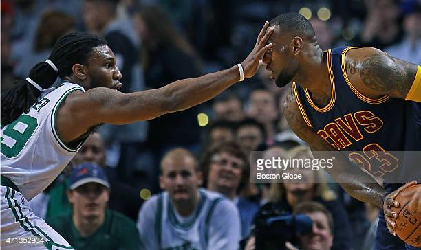 The Celtics' Jae Crowder left plays some literal in your face defense against the Cavaliers' LeBron James in the fist quarter The Boston Celtics...