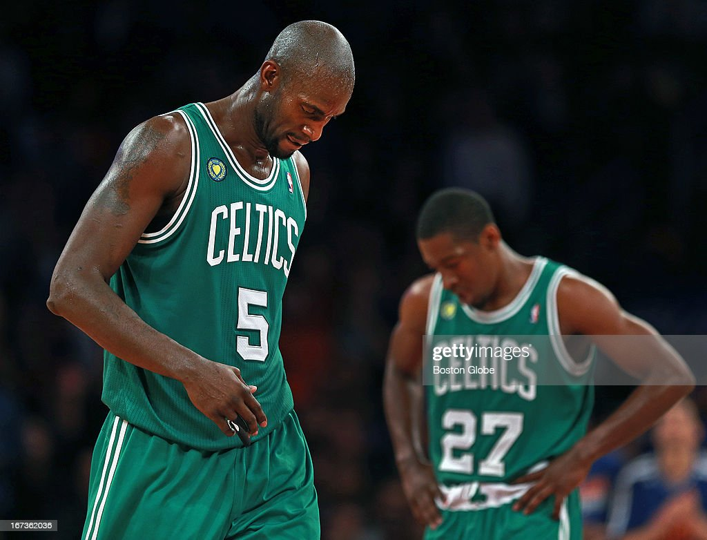 The Celtics Kevin Garnett (#5) heads for the bench after picking up his fifth foul of the game, teammate Jordan Crawford (#27) strikes a similar pose in the background, at right. The Boston Celtics visited the New York Knicks for Game Two of an NBA Eastern Conference Quarter Final series at Madison Square Garden.