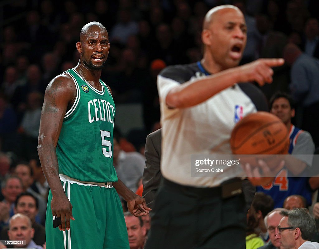 The Celtics Kevin Garnett scowls at an official as he heads to the bench early in the game after picking up his second personal foul. The Boston Celtics visited the New York Knicks for Game Two of an NBA Eastern Conference Quarter Final series at Madison Square Garden.