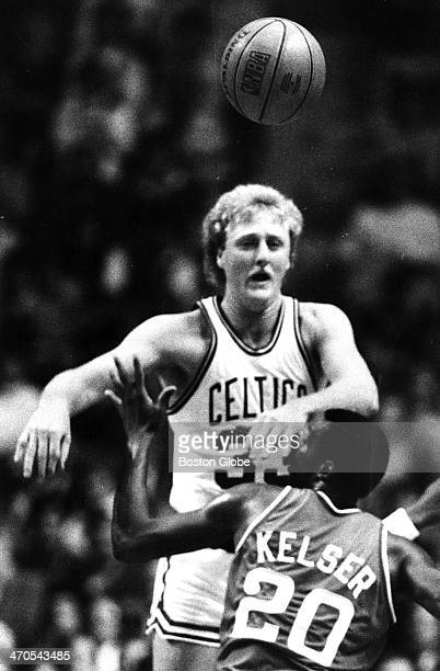 The Celtics' Larry Bird and the Clippers' Greg Kelser in action as the San Diego Clippers play the Boston Celtics at Boston Garden on Nov 9 1983