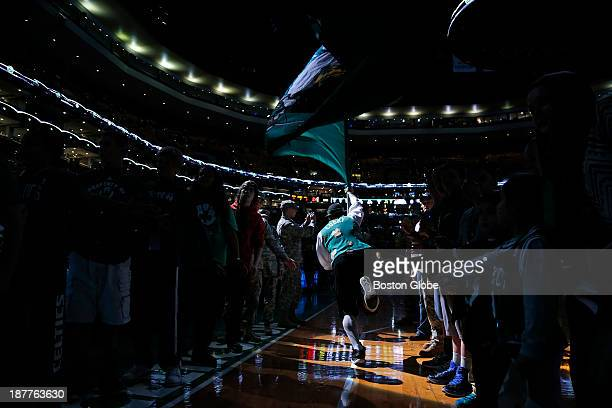 The Celtics Lucky the Leprechaun ran onto the court before the players The Boston Celtics played the Orlando Magic at the TD Garden during a regular...
