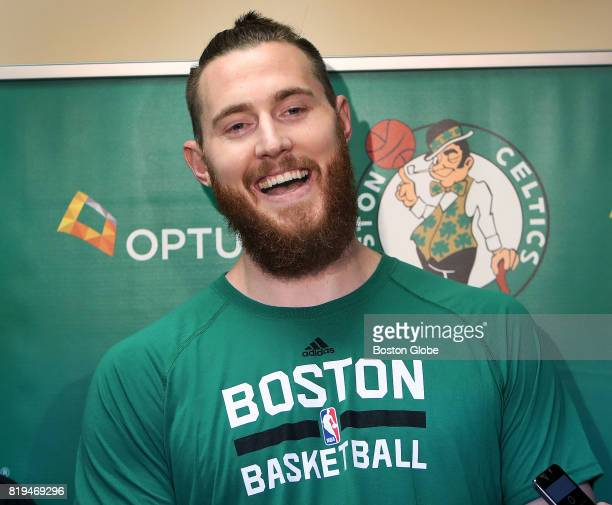 The Celtics' newest free agent signee Aron Baynes takes questions from reporters at HealthPoint in Waltham MA on Jul 19 2017