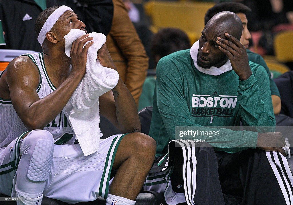 The Celtics' Paul Pierce and Kevin Garnett are pictured on the bench late in the Boston loss to Brooklyn as the Boston Celtics hosted the Brooklyn Nets in a regular season NBA game at the TD Garden.