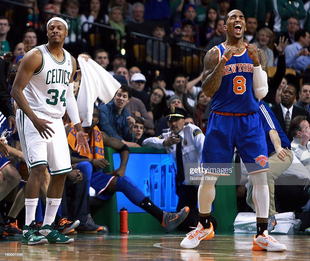 The Celtics were trailing 89-86 very late in the game, but when captain Paul Pierce (#34) couldn't get a handle on a pass from Rajon Rondo (not pictured), the ball went out of bounds off of Pierce, which sent the Knicks' J.R. Smith (#8), right, into a celebration. The Knicks had the ball and the game. The Boston Celtics hosted the New York Knicks in an NBA regular season game at TD Garden.