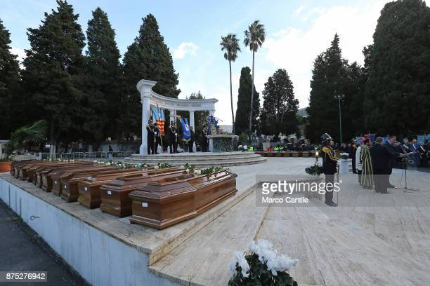The cemetery altar with the coffins during the funeral of the 28 migrant women who died in a shipwreck as they sought to reach Italy