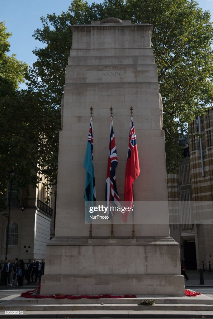 The Cenotaph, a war memorial is pictured at Whitehall, London on October 12, 2017. The Cenotaph is the place where the Remembrance Sunday cerimony takes place every year, to pay tribute to those who died in the wars.