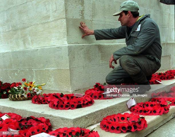 The Cenotaph war memorial in London's Whitehall which was attacked with spray paint and graffiti during the violent demonstrations which caused...
