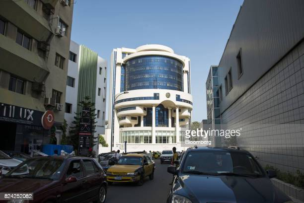The Central Bank of West African States stands behind traffic in the Plateau district of Dakar Senegal on Friday July 28 2017 Senegalese voters will...