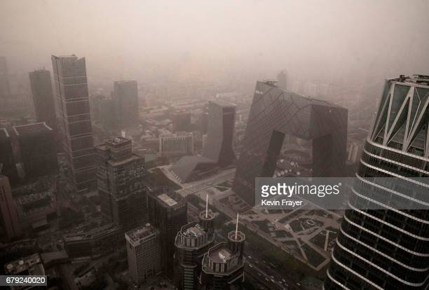 The Central Business District is seen during a heavy sandstorm on May 4 2017 in Beijing China Sandstorms are common in northern China during the...