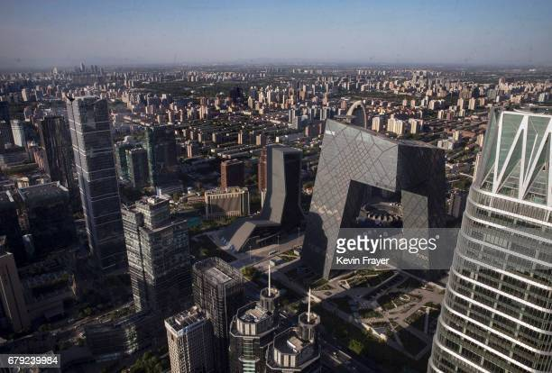 The Central Business District is seen on a clear day after winds cleared the air of a heavy sandstorm on May 5 2017 in Beijing China Sandstorms are...