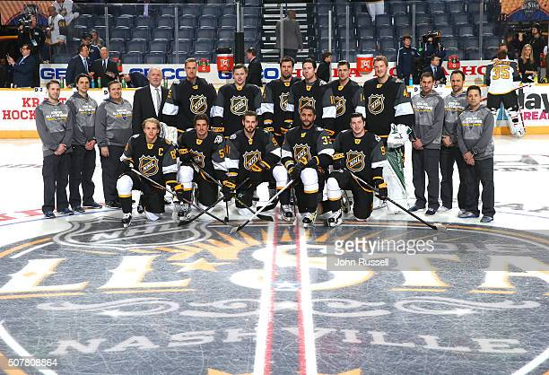 The Central Division team and head coach Lindy Ruff 4th standing from left pose for a team photo prior to their 2016 Honda NHL AllStar Western...