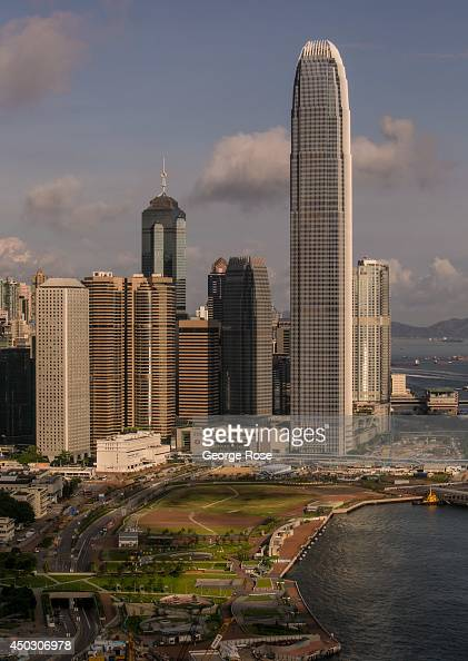 The Central Hong Kong skyline and 88story International Finance Centre is viewed from Wan Chai on May 27 in Hong Kong China Viewed as the world's...