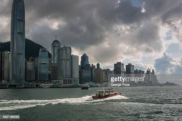 The Central Hong Kong skyline is viewed from Kowloon after sunset on May 24 in Hong Kong China Viewed as the world's third most important trade and...