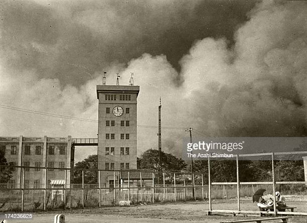 The Central Meteorological Observatory is surrounded by black smoke of the massive fire occured after the Great Kanto Earthquake on September 1 1923...