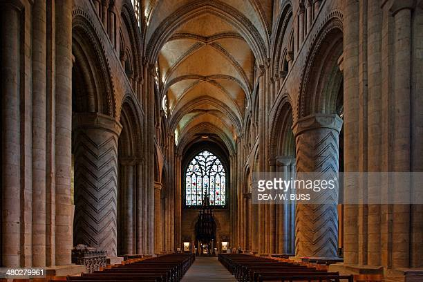 The central nave of Durham cathedral Durham Durhamshire United Kingdom