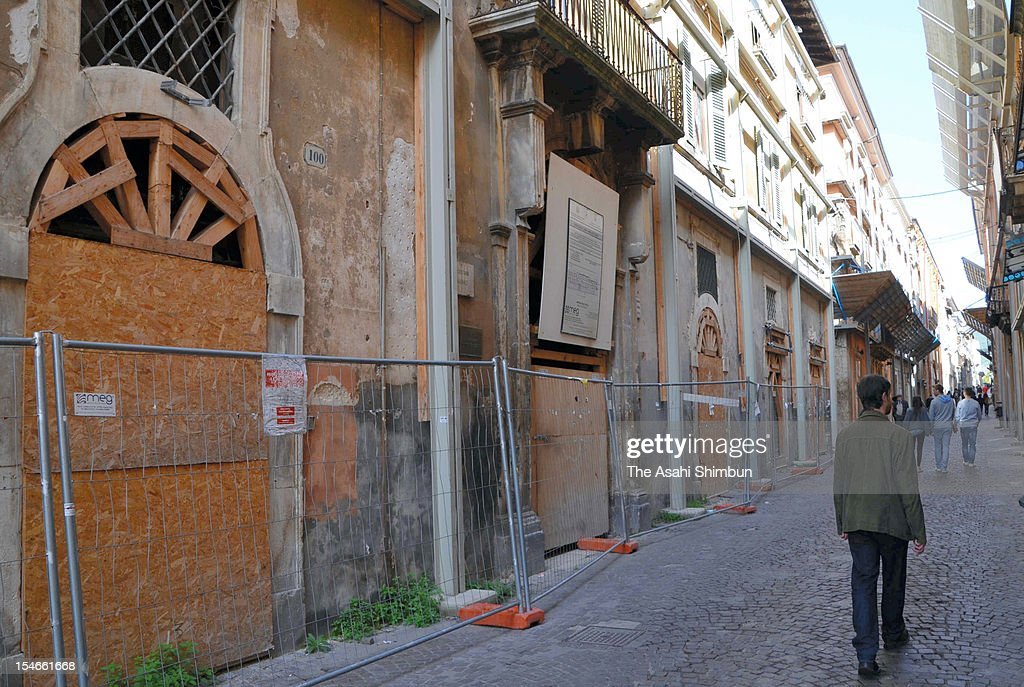L'AQUILA ITALY OCTOBER 22 The central part of L'Aquila where building reconstruction is still underway following the 2009 earthquake that killed more...