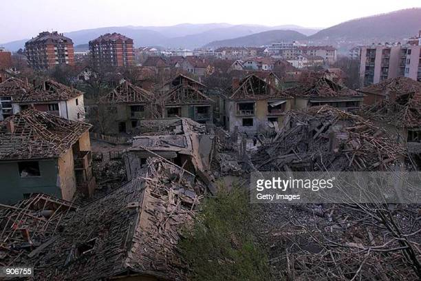 The central residential area of the southern Serbian town of Aleksinac is seen after it was hit Tuesday April 6 1999 by a NATO missiles NATO carried...