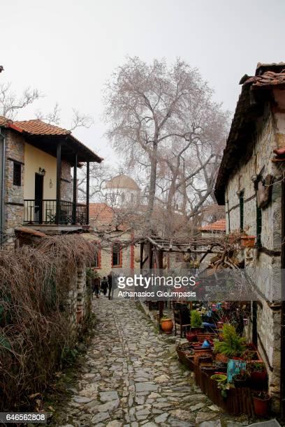The central square of the Village Palaios Panteleimonas on February 27 2017 in Olympus National Park GreecePalios Panteleimonas is a mountain...