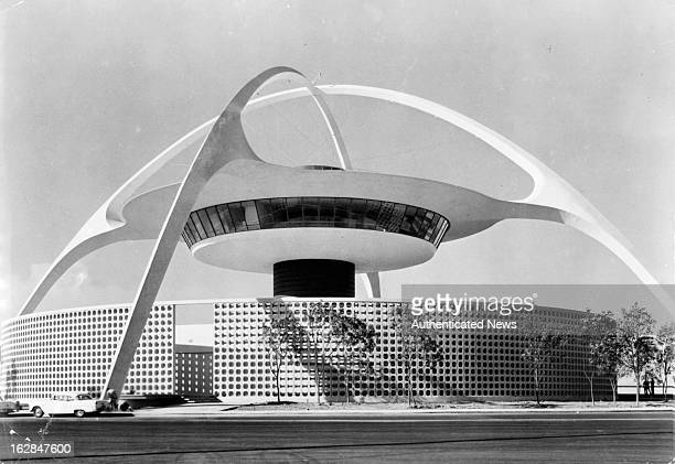 The central theme building at Los Angeles International Airport in California circa 1955