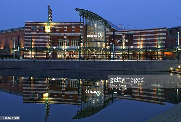 The CentrO retail complex is seen illuminated at night in Oberhausen Germany on Monday March 21 2011 German retail sales rose for a second month in...
