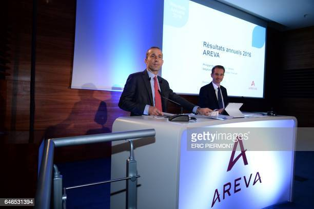 The CEO of French nuclear group Areva Philippe Knoche and CFO Stephane Lhopiteau present on March 1 2017 the group's 2016 annual results at Areva...