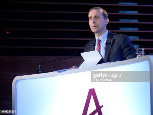 The CEO of French nuclear group Areva Philippe Knoche presents on March 1 2017 the group's 2016 annual results at Areva headquarters in La Defense...