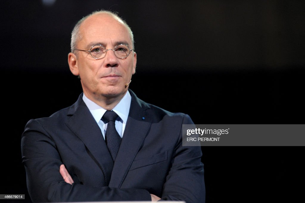 The CEO of French telecommunications operator Orange Stephane Richard answers questions on March 17 2015 after presenting the groups strategic plan...