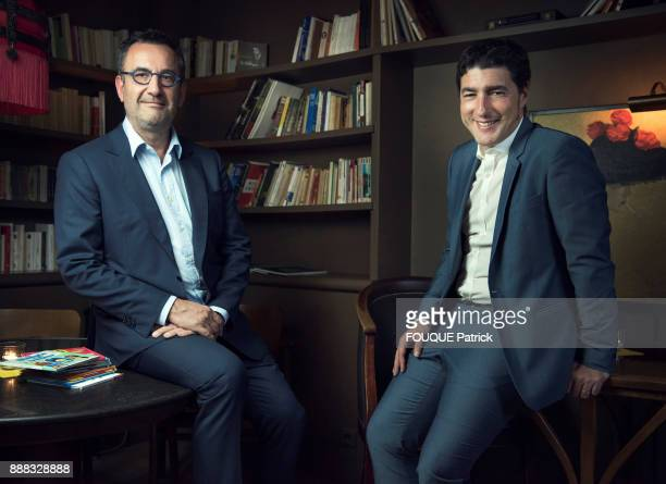 the CEO of Hachette Livre and Lagardere Publishing Arnaud Nourry with the CEO of McDonald France Nawfal Trabelsi are photographed for Paris Match on...