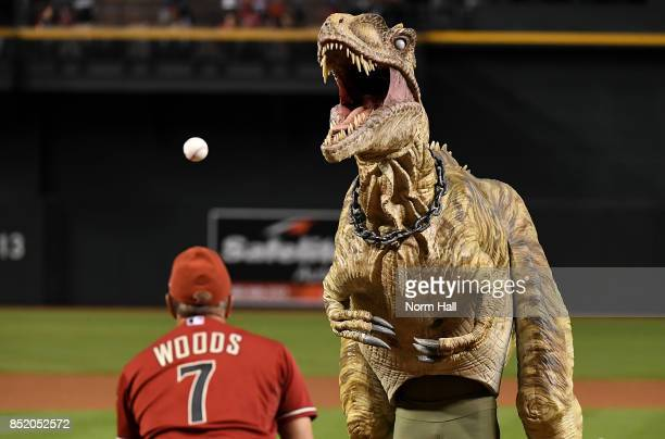 The ceremonial first pitch was thrown out by a representative of the Phoenix Zoo dressed in a super raptor costume prior to a game between the...