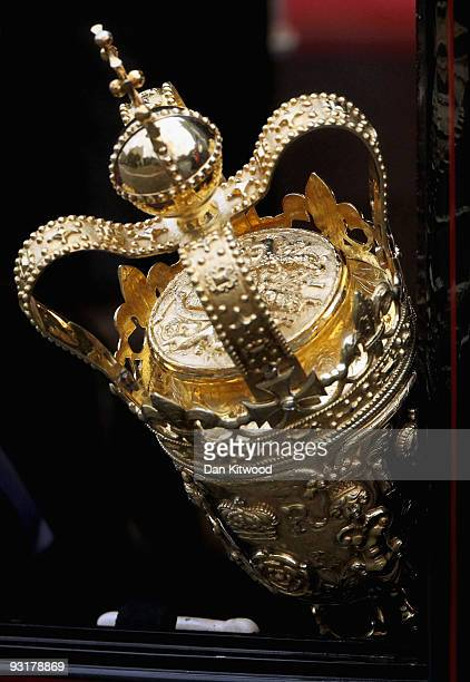 The Ceremonial mace is processed out of the Palace of Westminster after the State Opening of Parliament on November 18 2009 in London Queen Elizabeth...