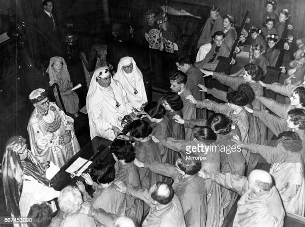 The ceremony of initiating the new bard T Llew Jones at the Eisteddfod Ebbw Vale 6th August 1958