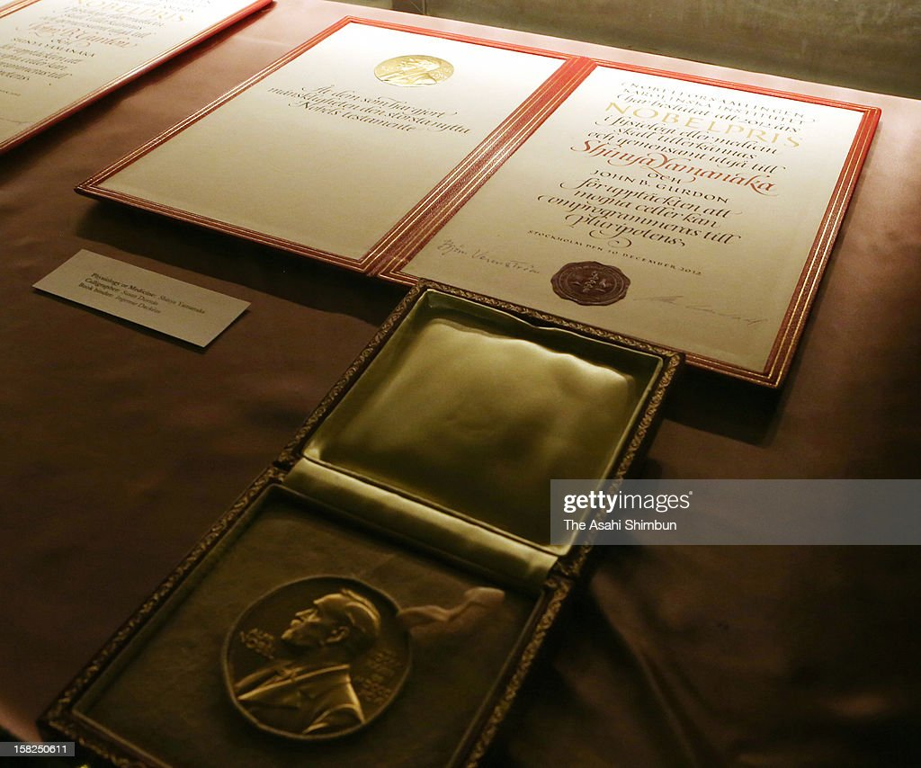 The certificate and medal of the Nobel Prize in Medicine laureate Shinya Yamanaka are seen ahead of the Nobel Prize Award Ceremony at Concert Hall on December 10, 2012 in Stockholm, Sweden.
