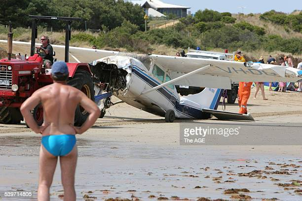 The Cessna 172B light plane which crashed just off the beach at Torquay was dragged along the beach The 19 yearold pilot was not seriously injured 27...