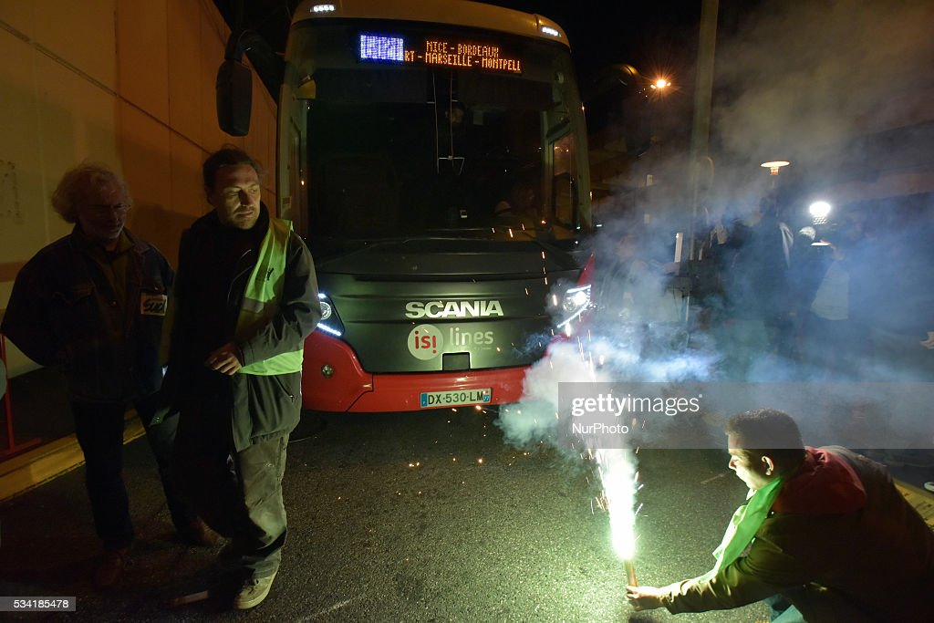 The CGT, FO, SUD-Rail trade unions and 'Nuit Debout' movement called for a blockade of the bus station early in the morning to protest against the rail liberalization and the El-Khomri bill and labour reforms. Toulouse.France. May 25th, 2016.